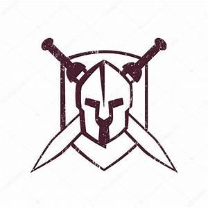 spartan helmet with crossed swords on shield — Stock ...