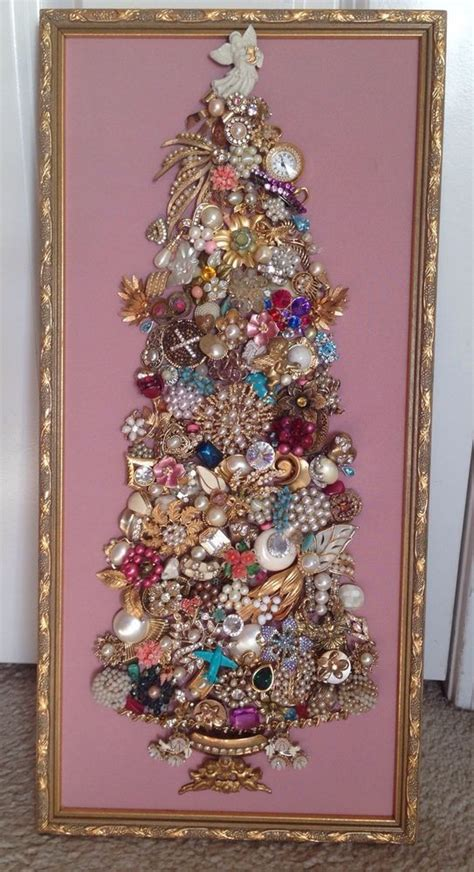 large  vintage rhinestone jewelry christmas tree