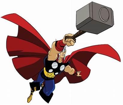 Clip Thor Marvel Clipart Cartoon Superhero Hammer