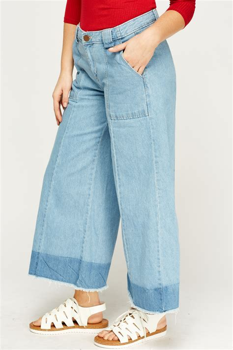 Denim Frayed Hem Wide Leg Culotte Jeans   Just £5