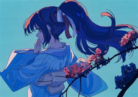 Wallpaper Kimono Anime Girl Flowers Profile View
