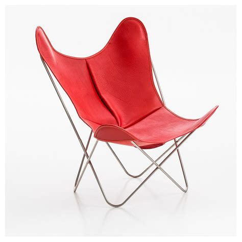 fauteuil indoor aa butterfly cuir buffalo rouge