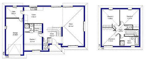 plan maison rdc 3 chambres plan de maison etage plan 2 tages design et moderne avec