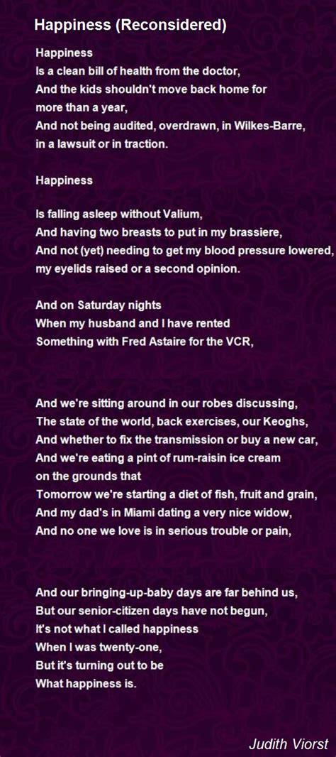 happiness reconsidered poem  judith viorst poem hunter