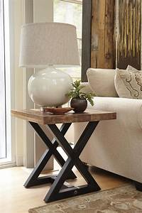 Square End Table With Mango Wood Top Metal X Braced Base