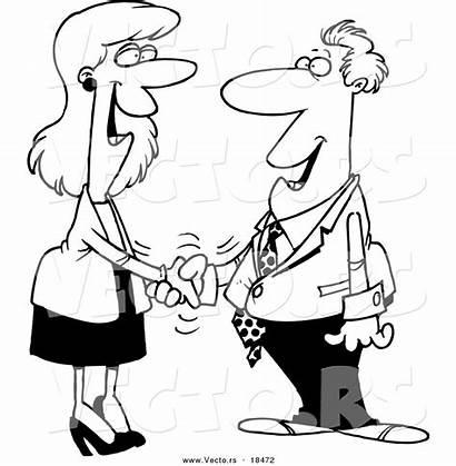 Cartoon Shaking Hands Coloring Woman Businessman Vector