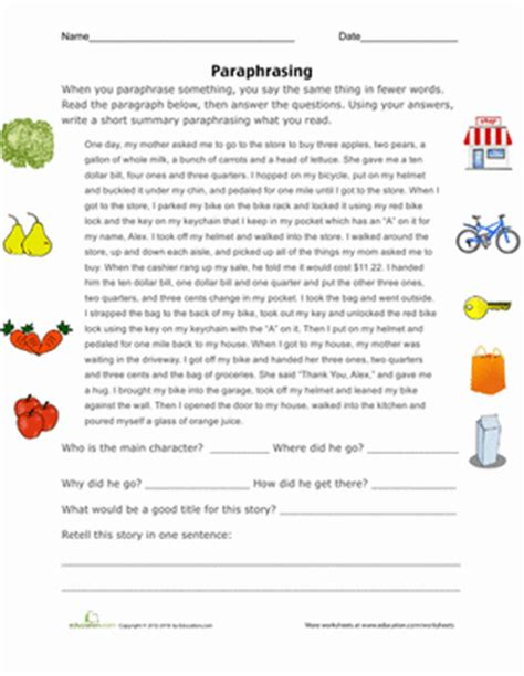 printables summarizing worksheets 3rd grade