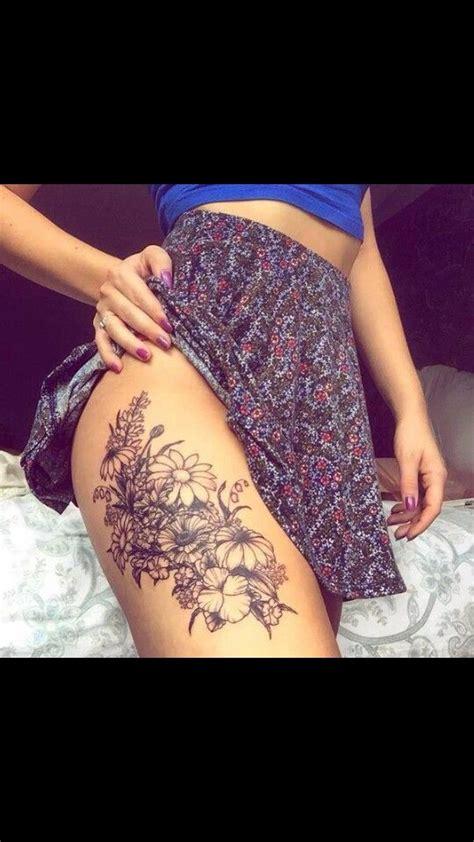 flower thigh tattoos ideas  pinterest sunflower tattoo thigh thigh tattoos