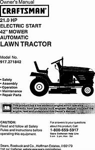 Craftsman 917271842 User Manual Lawn Tractor Manuals And Guides L0105110