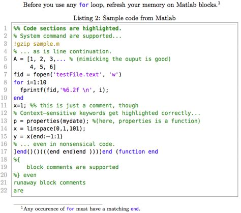 You should ensure to redeem these kind of without delay since you'll in no way. listings - What can I use to typeset MATLAB code in my document? - TeX - LaTeX Stack Exchange