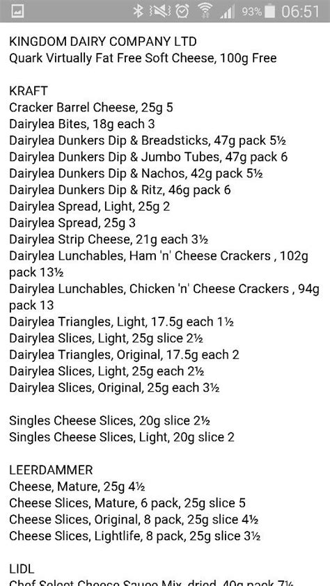 Dairylea/cheese slices   syns in 2019   Slimming world