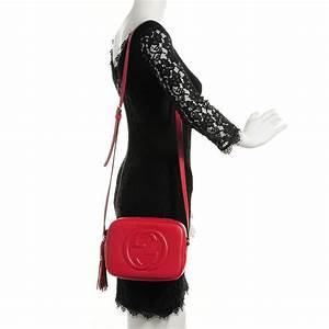 GUCCI Pebbled Calfskin Small Soho Disco Bag Red 103000