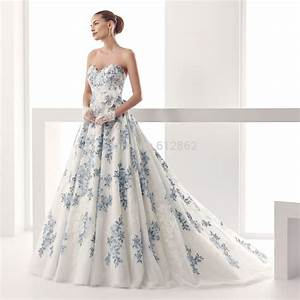 Popular Blue And White Wedding Dresses Buy Cheap Blue And