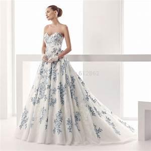 popular blue and white wedding dresses buy cheap blue and With blue lace wedding dress