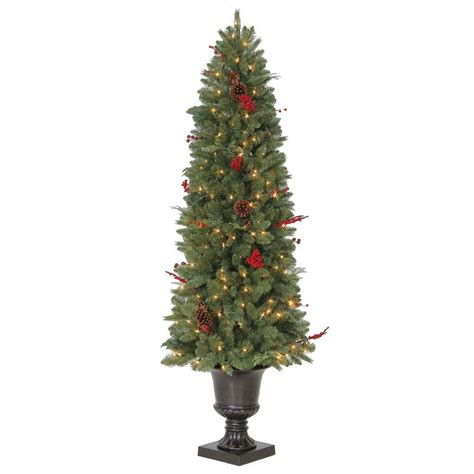 artificial trees with lights martha stewart living 6 ft winslow potted artificial