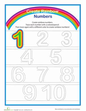 rainbow numbers practice writing numbers