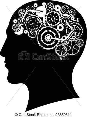 Head with gear brain. vector illustration