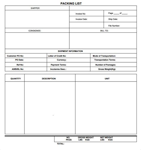 packing list sample form vacation packing list template 5 free excel pdf