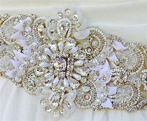 Beaded bridal sash wedding sash in pale champagne with for Wedding dress sashes with crystals