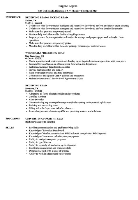 Shipping And Receiving Resume by Receiving Lead Resume Sles Velvet