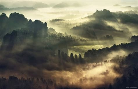 foggy european landscapes  sunrise photographed