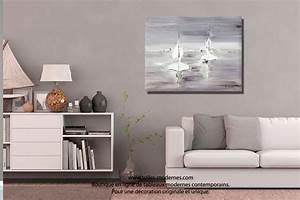 Tableau Salon Moderne : tableau gris voyage en mer grand format rectangle ~ Farleysfitness.com Idées de Décoration