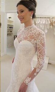 2016 cheap backless mermaid wedding dresses high neck long With wedding dress with long lace sleeves