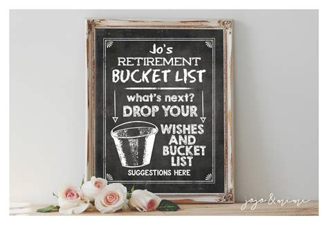Personalized Retirement Bucket List Printable Retirement Party Great Gift For Girlfriend Best Get Well Gifts Him Photo Teddy Bear Girl Kid India Uncle Hand Craft Necklace World Inc