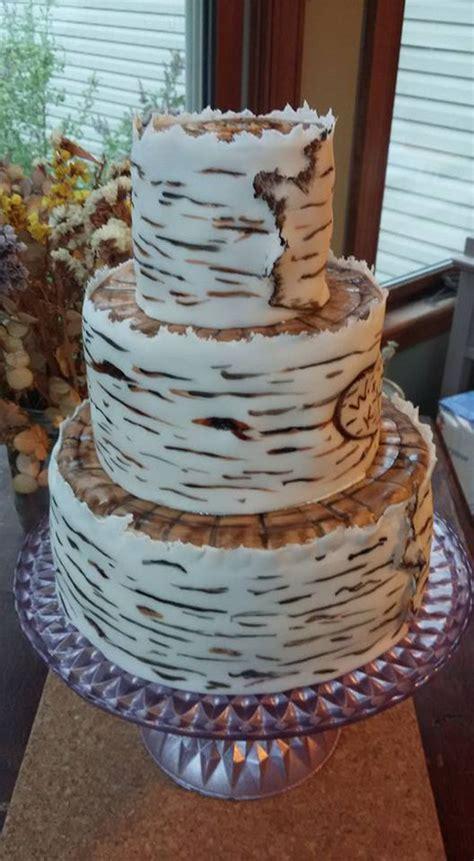 birch bark wedding cake cakecentralcom