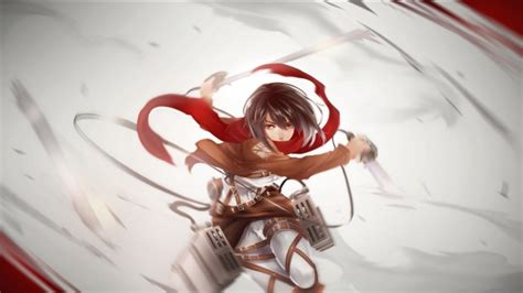 wallpaper mikasa ackerman shingeki  kyojin red scarf