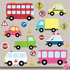Transportation clip art Cute Vehicles transport set perfect