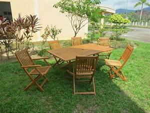 Salon De Jardin En Bois : salon de jardin en bois exotique osaka bali table ~ Dailycaller-alerts.com Idées de Décoration