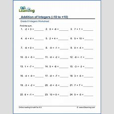 Grade 6 Math Worksheet  Integers Addition Of Integers  K5 Learning