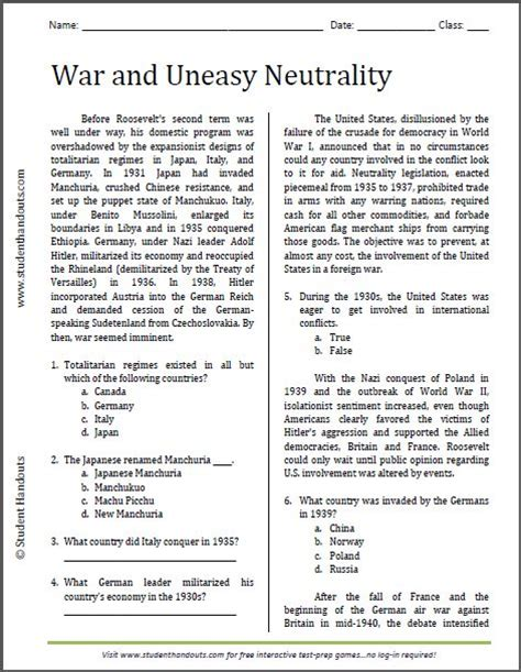 War And Uneasy Neutrality  Reading Worksheet  Free To Print (pdf File) For High School