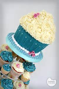 Pink and Blue Cupcake Wedding Cakes