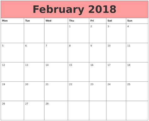 february  calendar printable templates  word