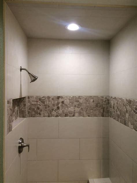 linen rectangle tile shower  stone accent  koehn