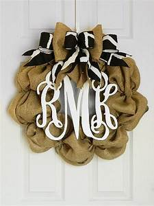 3 letter monogram burlap wreath with bow by With monogram letter door wreath