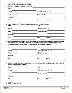 vendor information forms sample template word excel With vendor contact information template
