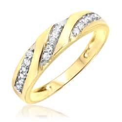 yellow gold wedding rings 1 4 carat t w 39 s wedding ring 14k yellow gold my trio rings bt168y14km
