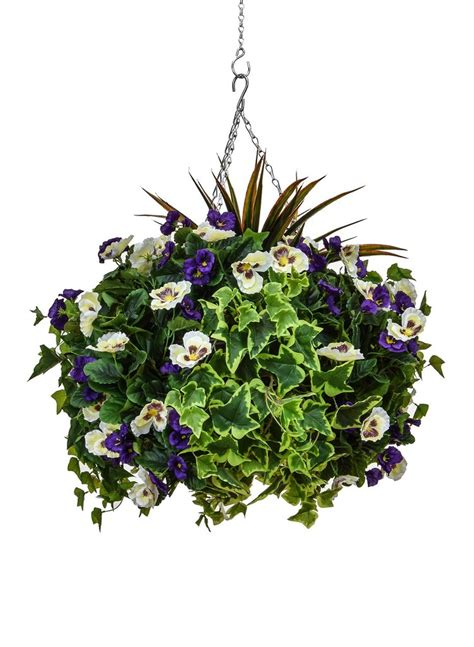 large purple  white pansy  ivy artificial hanging