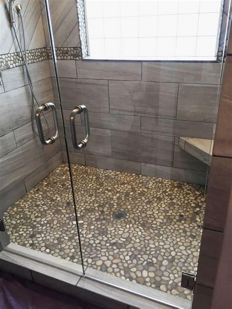 bali cloud pebble tile shower floor  border  dark