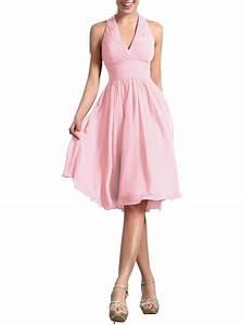 2016 hot sale summer pleat v neck halter chiffon for Summer party dresses wedding