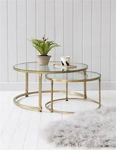 Stacking Round Glass Coffee Table Set Rose & Grey
