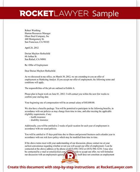 job offer letter employment offer letter template