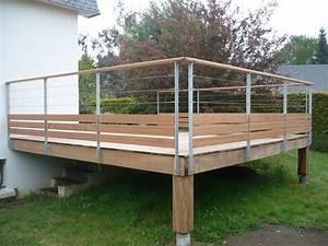 Balustrade En Bois : garde corps terrasse bois inox ~ Melissatoandfro.com Idées de Décoration