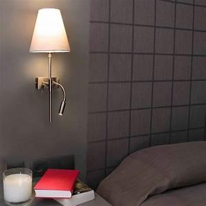 Applique Murale Avec Liseuse : applique sabana nickel mat avec abat jour beige et liseuse ~ Dailycaller-alerts.com Idées de Décoration