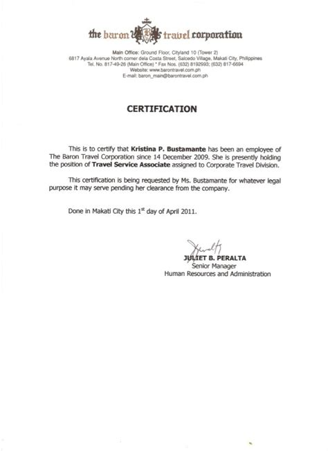 Certificate Of Employment Template by Certificate Of Employment Sles Word Excel Sles