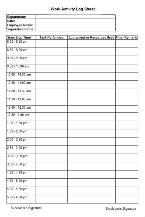 Time Log For Student Work And Template In Ms Word by Sle Activity Log Template 5 Free Documents Download