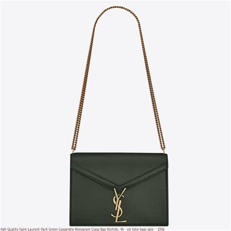 high quality saint laurent dark green cassandra monogram